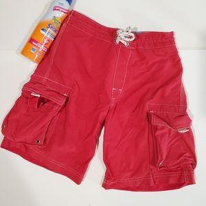 Lands End Red Lined Cargo Swim Short Size 8S Kids